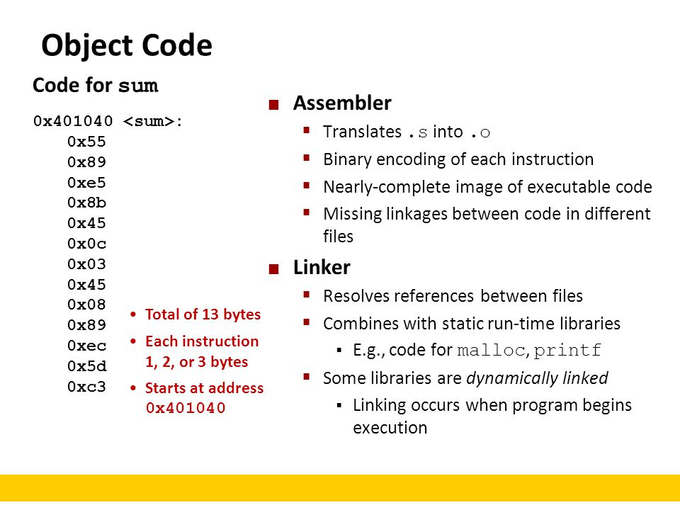 Object Code Code for sum Assembler Linker Translates .s into .o