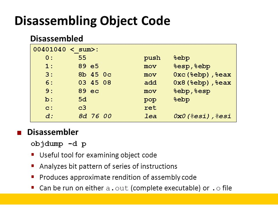 Disassembling Object Code