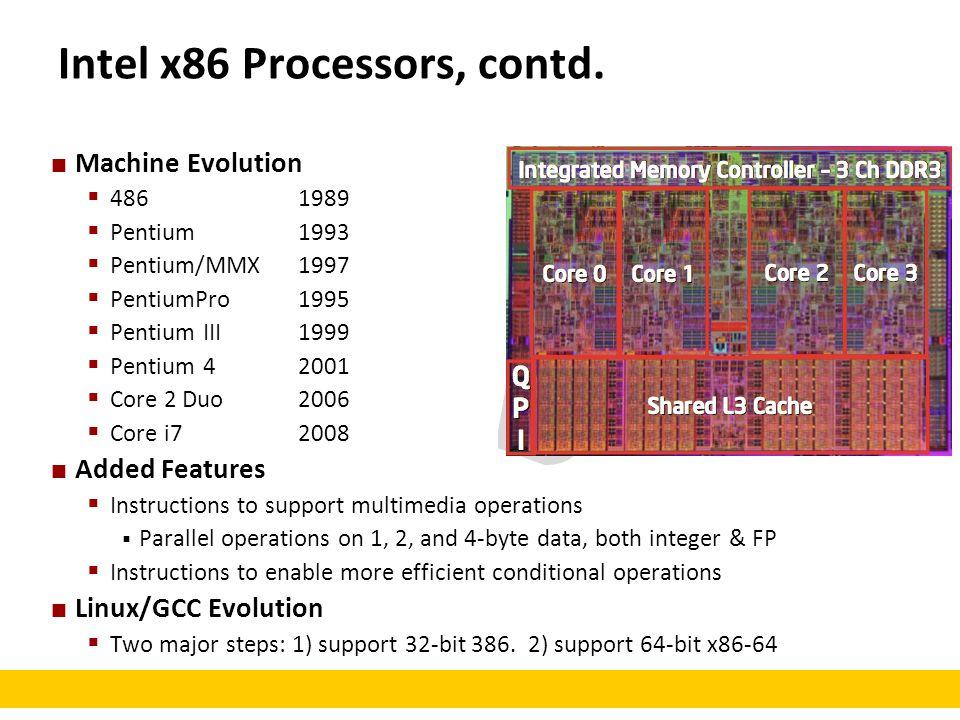 Intel x86 Processors, contd.
