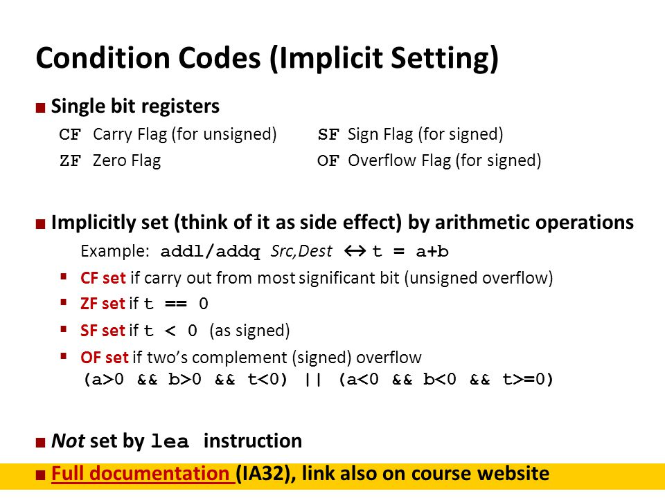Condition Codes (Implicit Setting)