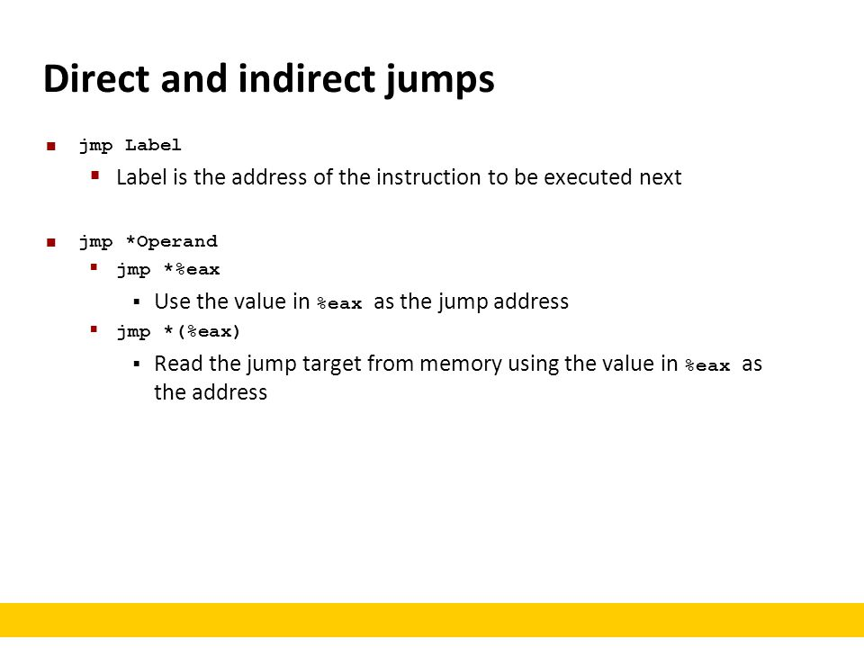 Direct and indirect jumps