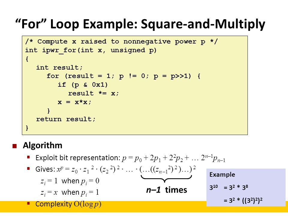 For Loop Example: Square-and-Multiply