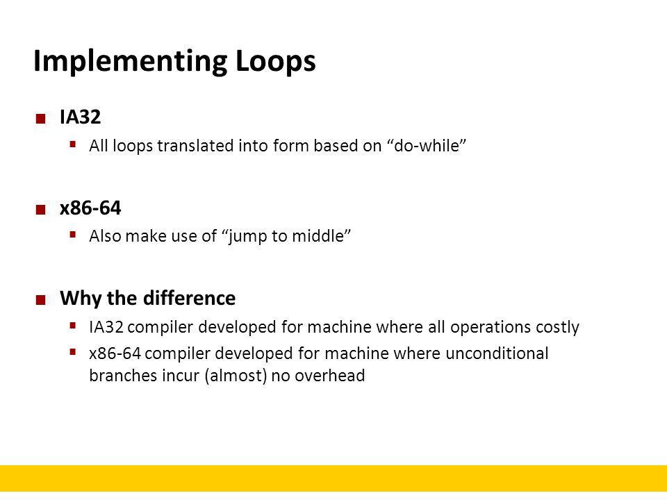 Implementing Loops IA32 x86-64 Why the difference
