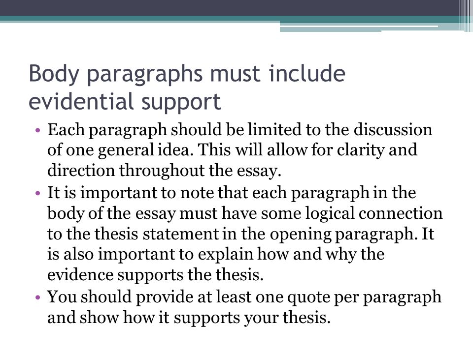 Body paragraphs must include evidential support
