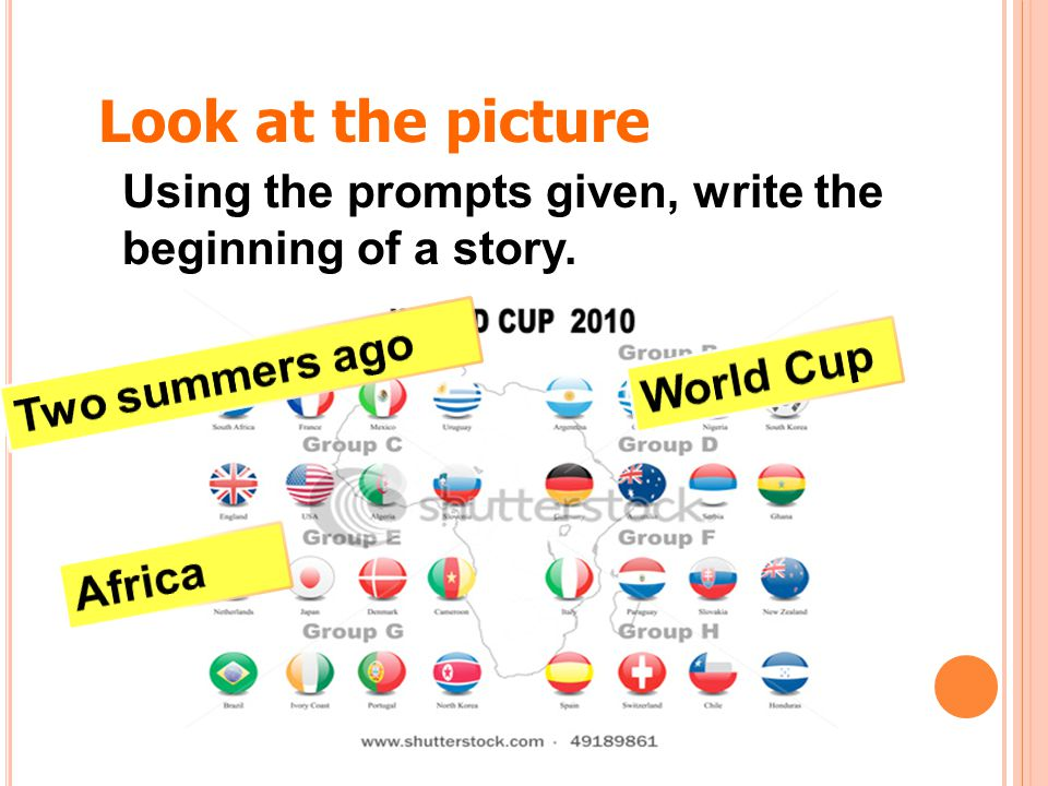 Look at the picture Using the prompts given, write the beginning of a story. Two summers ago. World Cup.