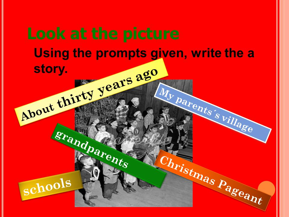 Look at the picture Using the prompts given, write the a story.