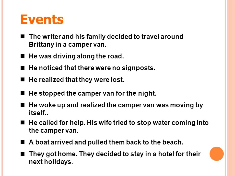 Events The writer and his family decided to travel around Brittany in a camper van. He was driving along the road.