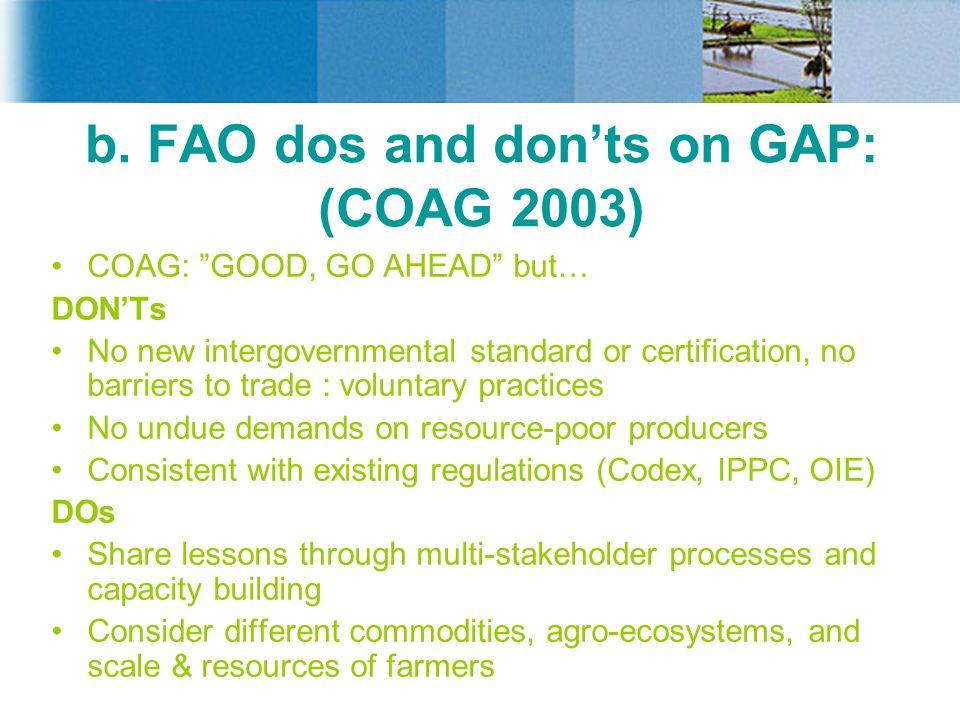 b. FAO dos and don'ts on GAP: (COAG 2003)