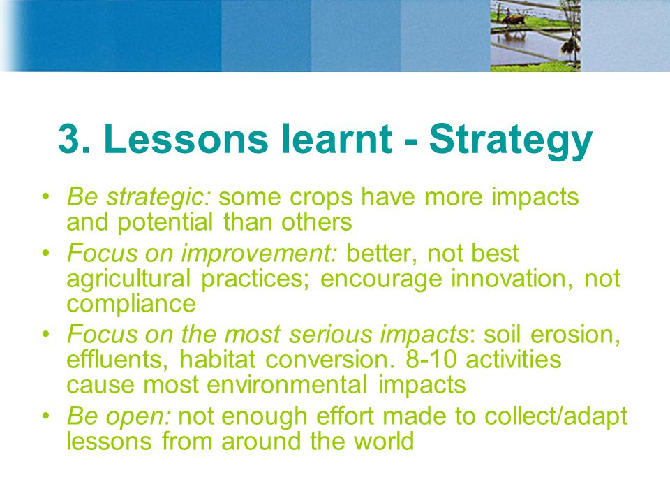 3. Lessons learnt - Strategy