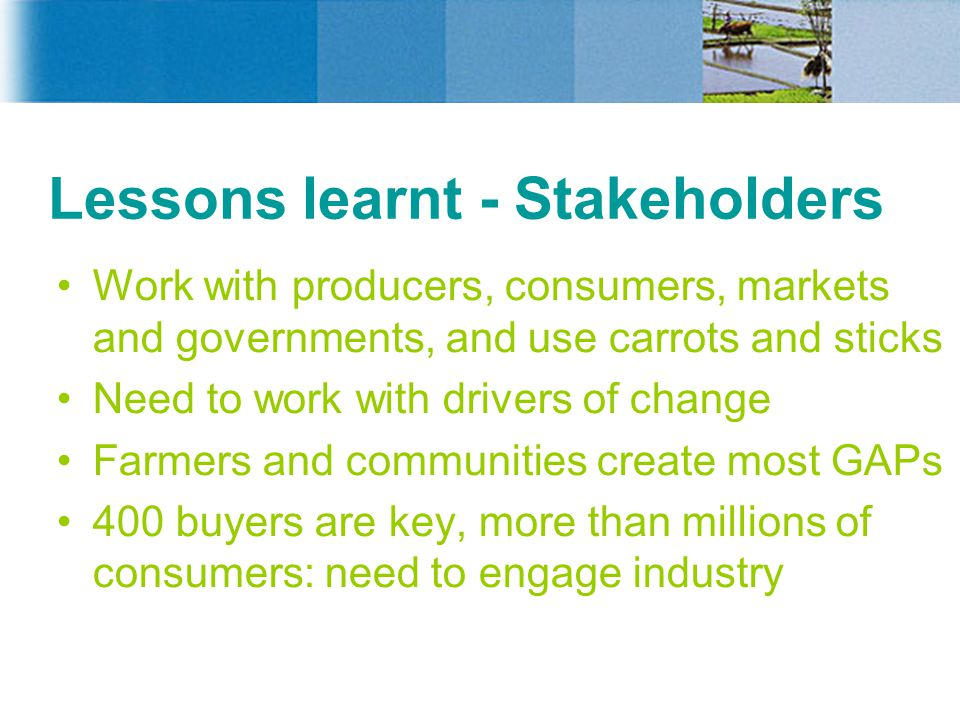 Lessons learnt - Stakeholders