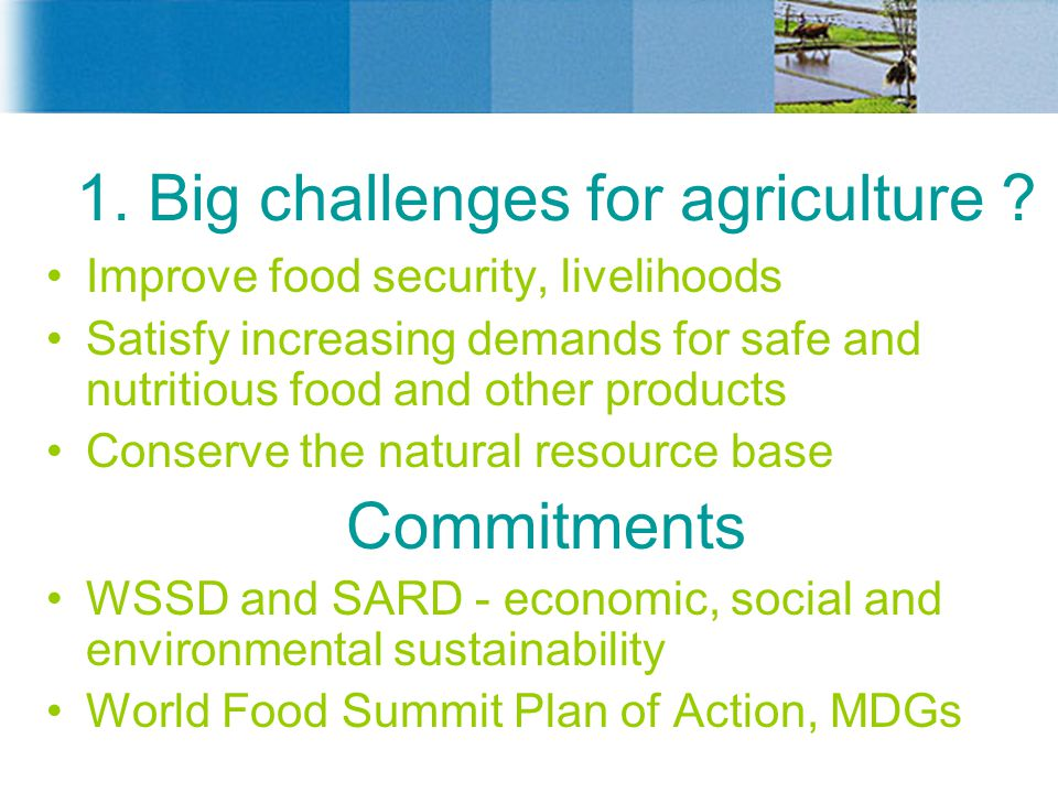 1. Big challenges for agriculture