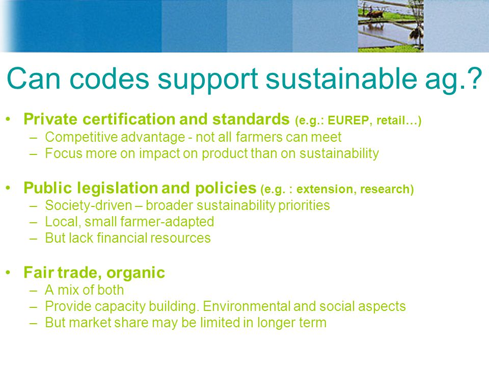 Can codes support sustainable ag.