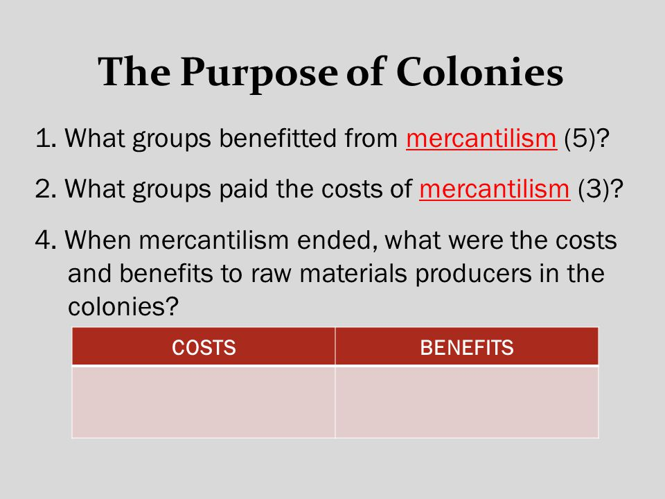 The Purpose of Colonies