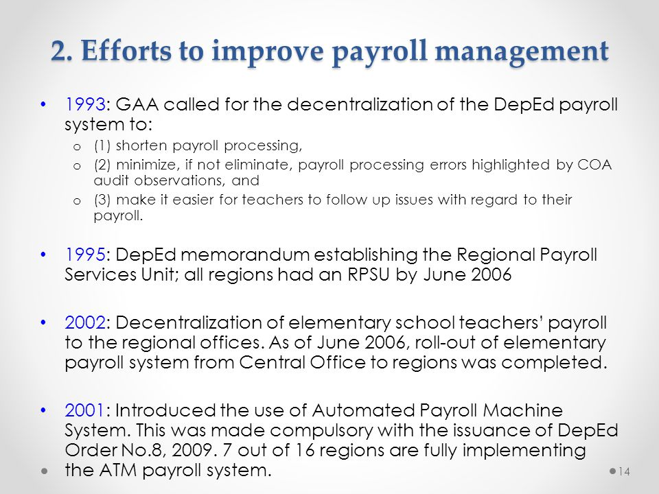 2. Efforts to improve payroll management