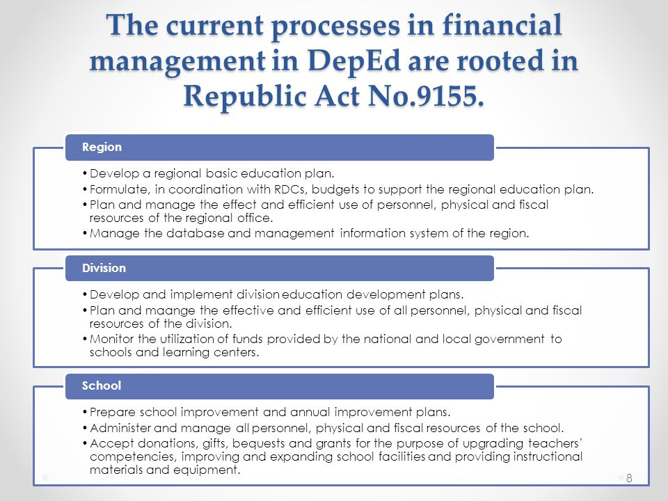 The current processes in financial management in DepEd are rooted in Republic Act No.9155.