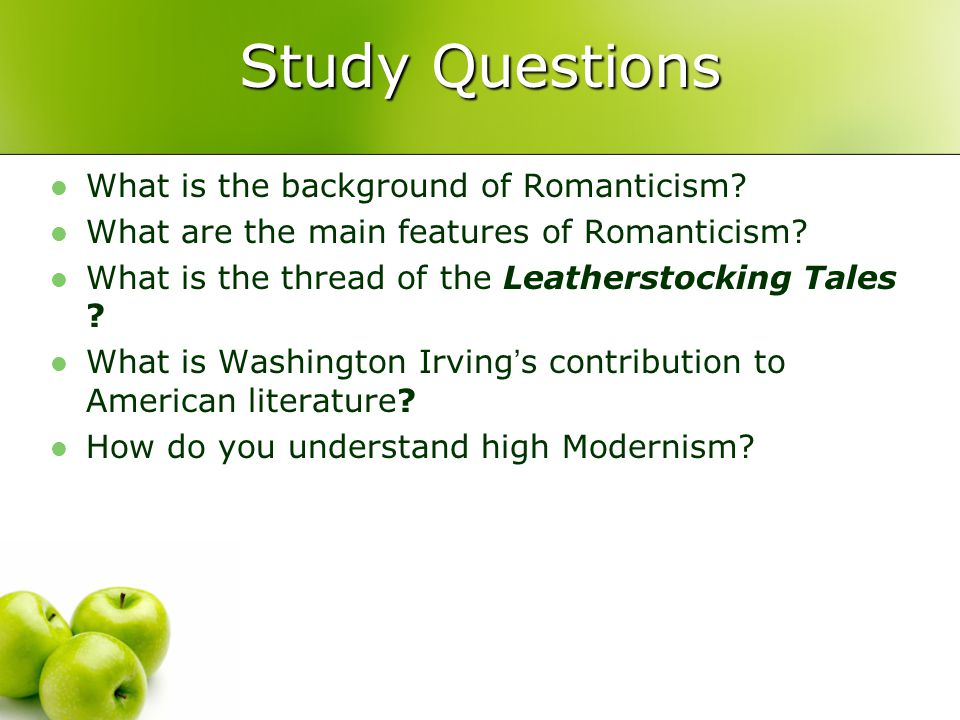 Study Questions What is the background of Romanticism