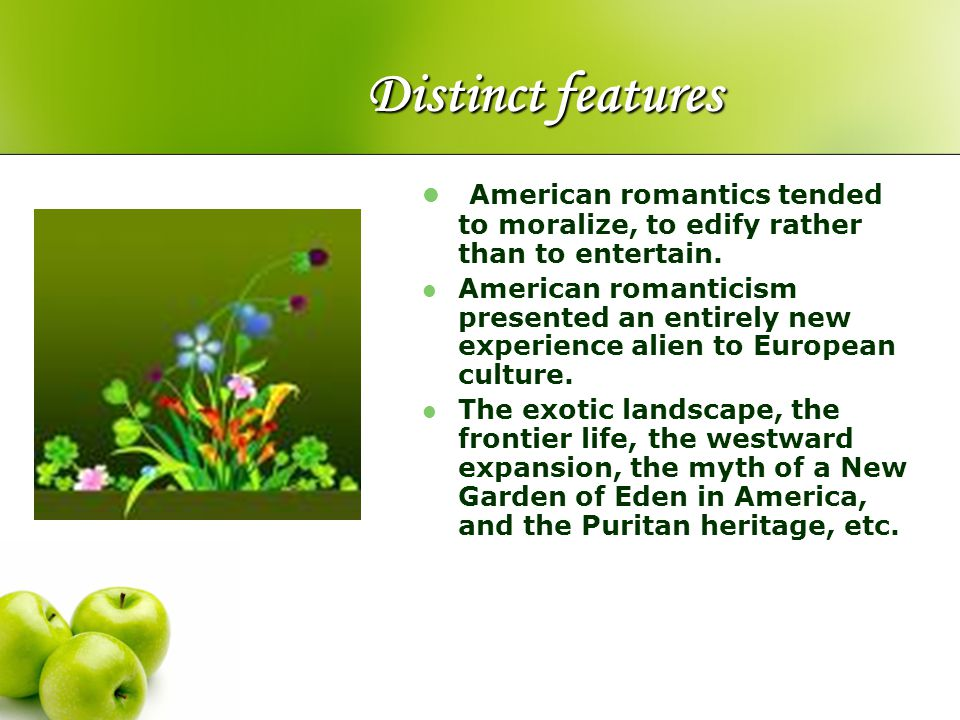 Distinct features American romantics tended to moralize, to edify rather than to entertain.