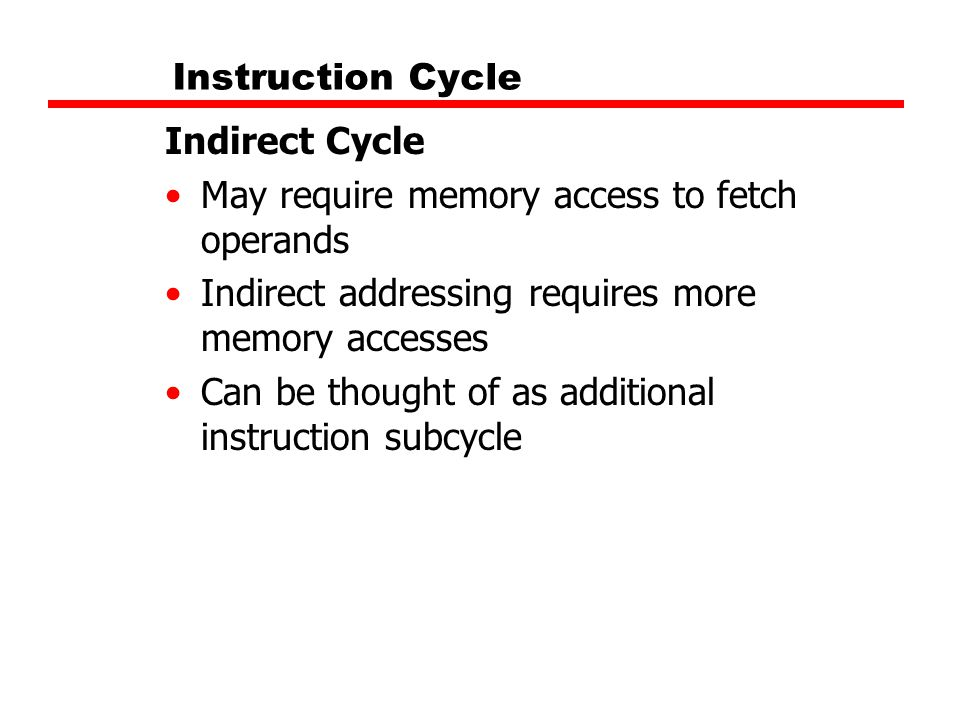 Instruction Cycle Indirect Cycle. May require memory access to fetch operands. Indirect addressing requires more memory accesses.