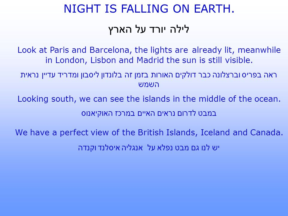 NIGHT IS FALLING ON EARTH. לילה יורד על הארץ