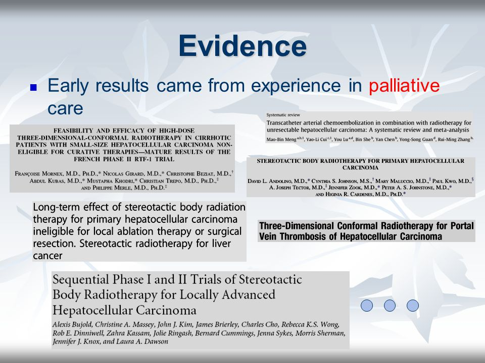 Evidence Early results came from experience in palliative care