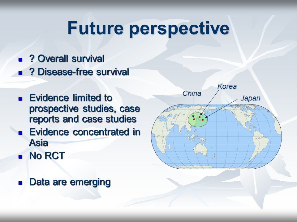 Future perspective Overall survival Disease-free survival