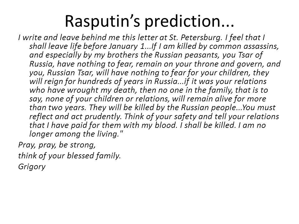 Rasputin's prediction...