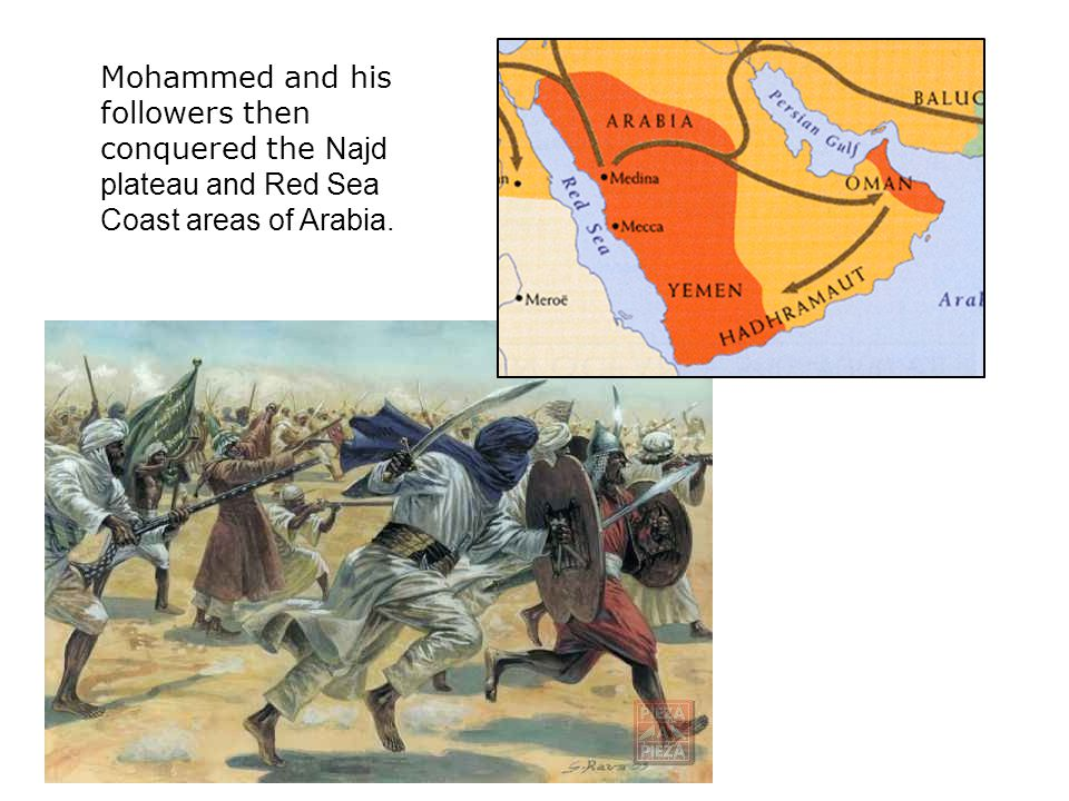 Mohammed and his followers then conquered the Najd plateau and Red Sea Coast areas of Arabia.