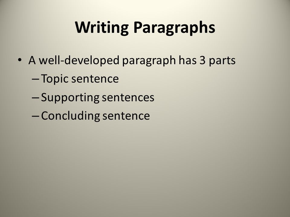 Writing Paragraphs A well-developed paragraph has 3 parts