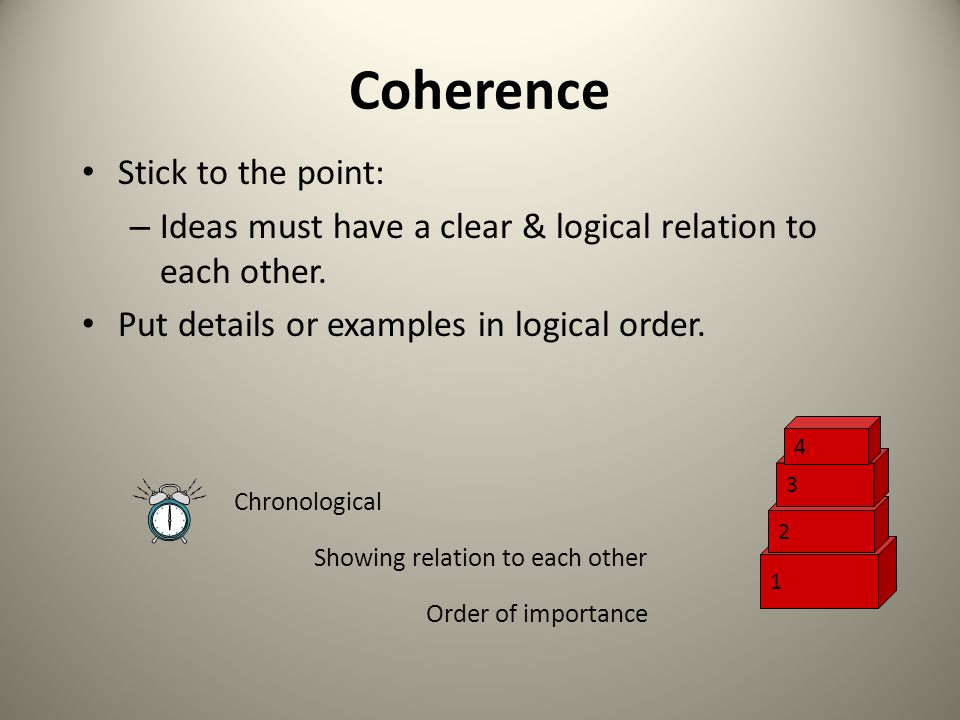 Coherence Stick to the point: