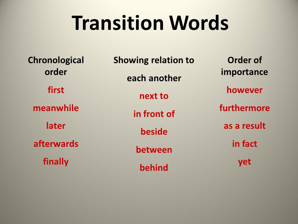 Transition Words Chronological order first meanwhile later afterwards
