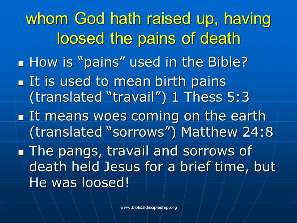 whom God hath raised up, having loosed the pains of death