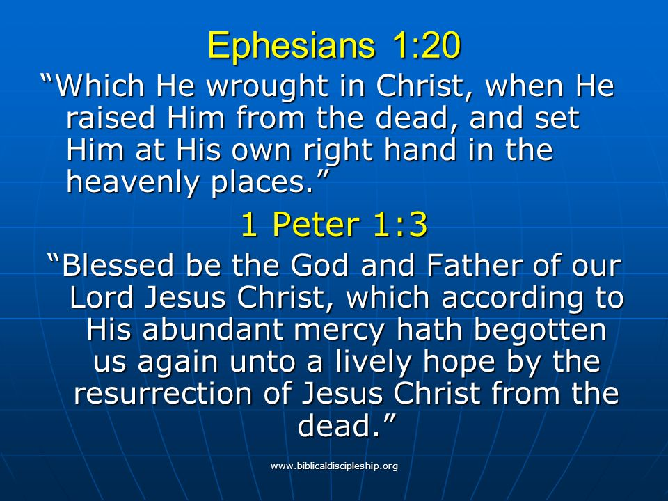 Ephesians 1:20 Which He wrought in Christ, when He raised Him from the dead, and set Him at His own right hand in the heavenly places.