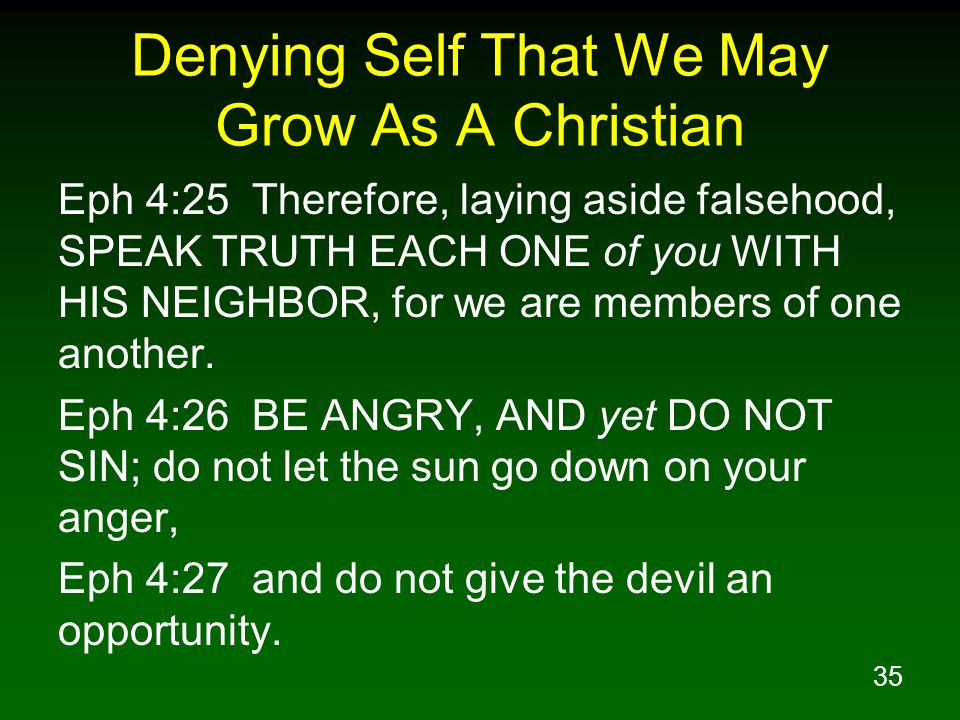 Denying Self That We May Grow As A Christian