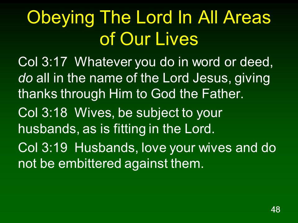 Obeying The Lord In All Areas of Our Lives