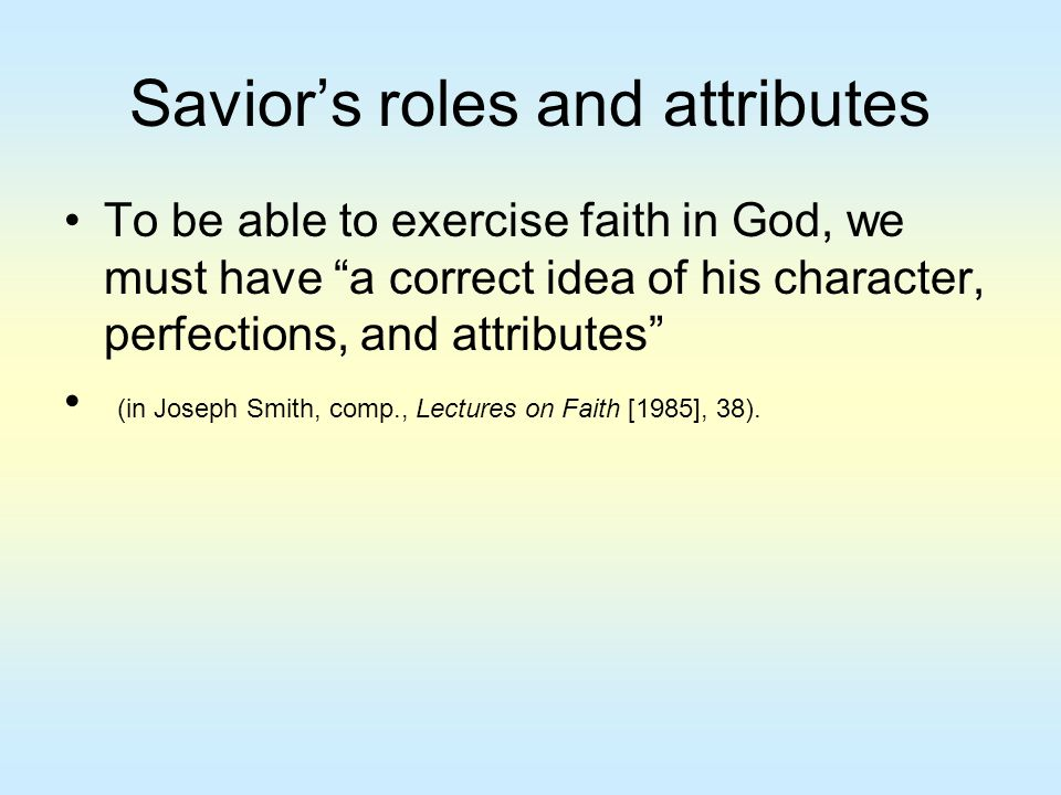 Savior's roles and attributes