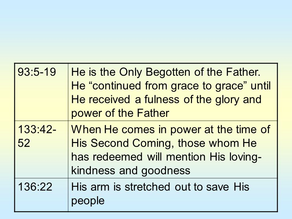 93:5-19 He is the Only Begotten of the Father. He continued from grace to grace until He received a fulness of the glory and power of the Father.