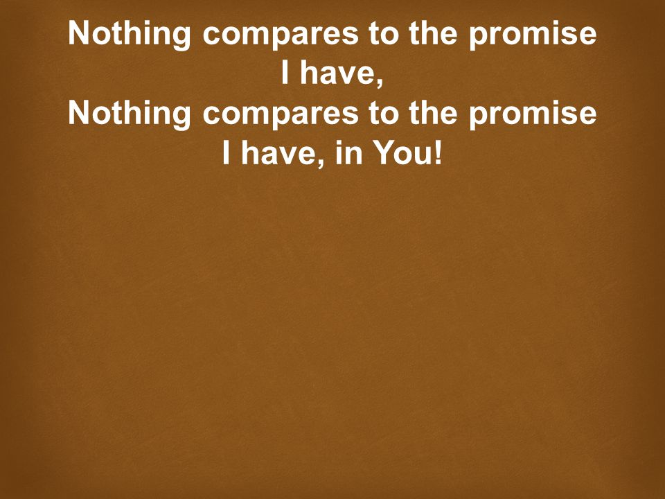 Nothing compares to the promise I have, Nothing compares to the promise I have, in You!