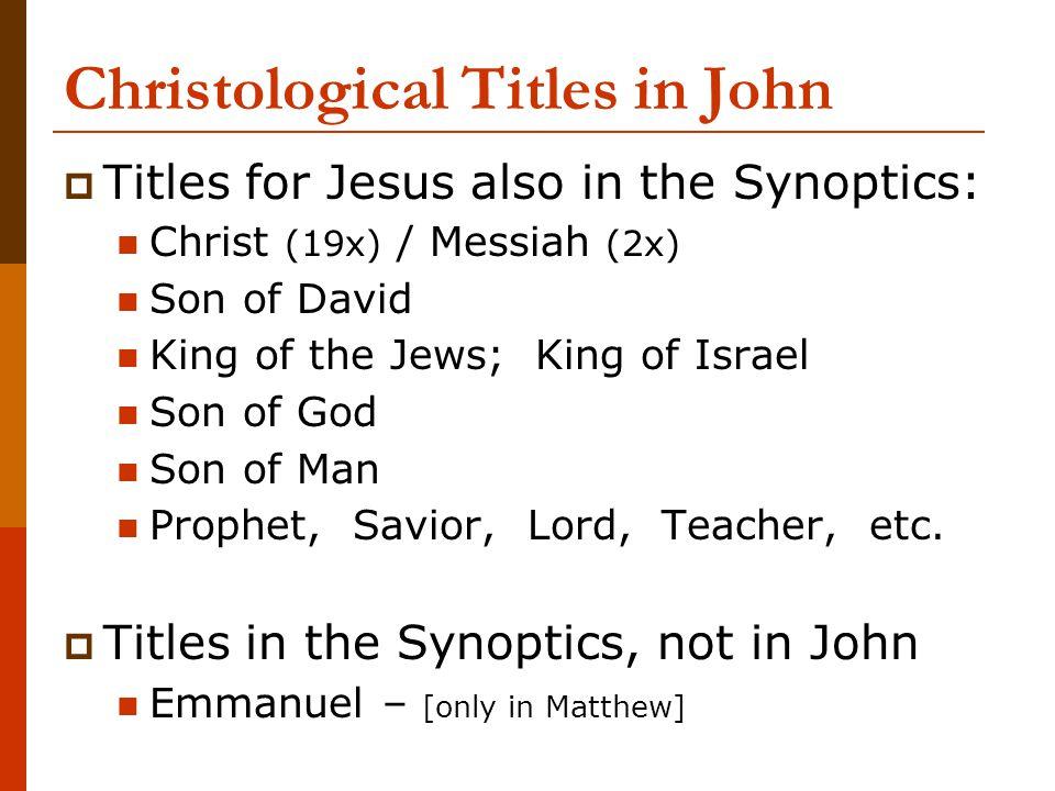 Christological Titles in John