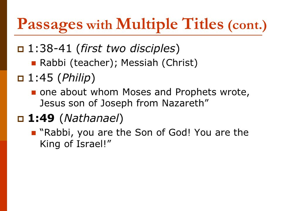 Passages with Multiple Titles (cont.)