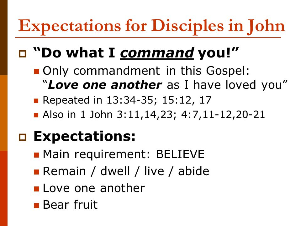 Expectations for Disciples in John