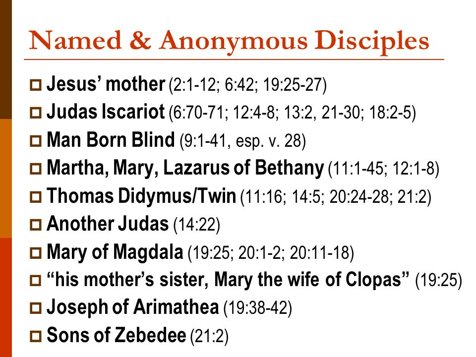 Named & Anonymous Disciples