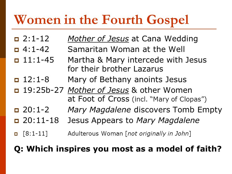 Women in the Fourth Gospel