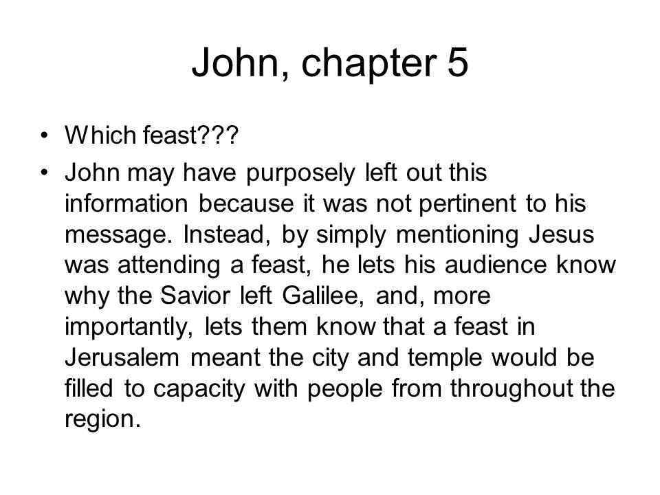 John, chapter 5 Which feast