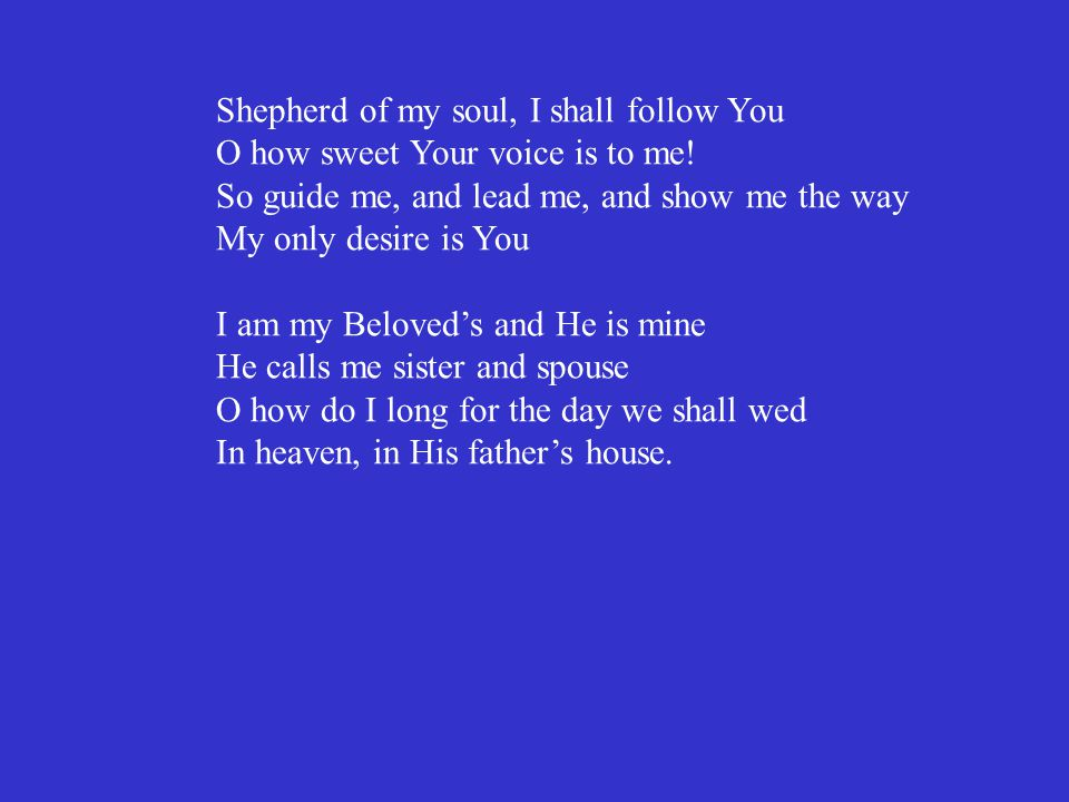 Shepherd of my soul, I shall follow You