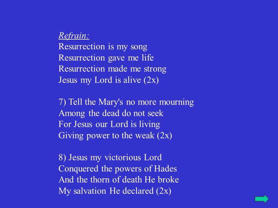 Refrain: Resurrection is my song Resurrection gave me life Resurrection made me strong Jesus my Lord is alive (2x)