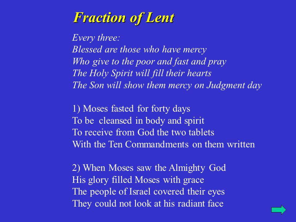 Fraction of Lent