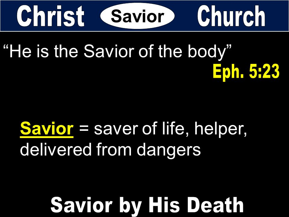 He is the Savior of the body