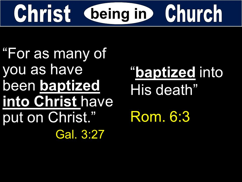 baptized into His death Rom. 6:3