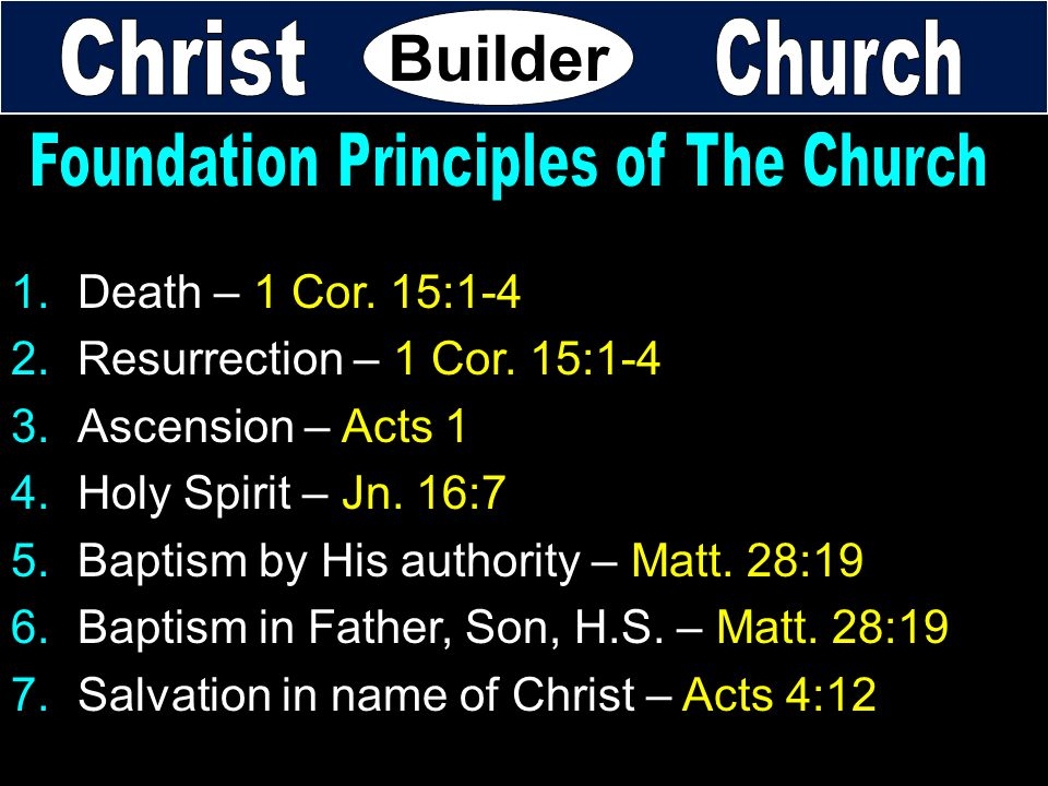 Foundation Principles of The Church