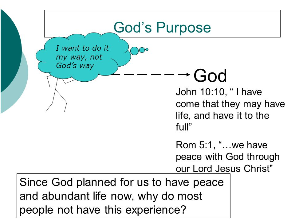 God's Purpose I want to do it my way, not God's way. God. John 10:10, I have come that they may have life, and have it to the full